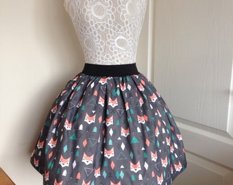 Geometric Foxes full skater style skirt