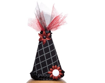 Clown Hat Black With Ruby Red and White Accents
