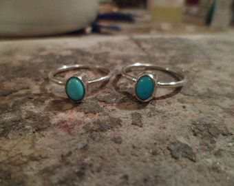 Navajo sterling silver Turquoise petite Midi Pinky Knuckle ring Native American Southwestern. Can be for  Babies/toddlers. Made to order