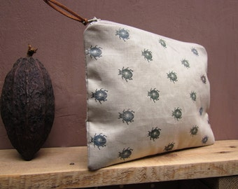 Cosmetics pouch, Purse, hand printed canvas, Beetle stamp, Zipper pouch, naturalistic, bugs print