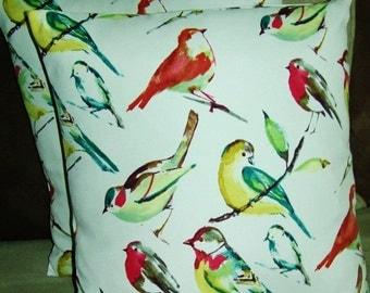 PAIR BIRDS PATTERN Spring Pillow Covers,  Spring into spring, birds, birdie pillows, assorted bird pillows,Indoor pillows, Outdoor pillows.