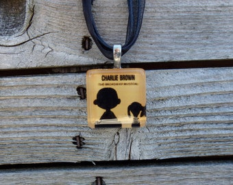 Broadway Musical You're A Good Man Charlie Brown Glass Pendant and Ribbon Necklace