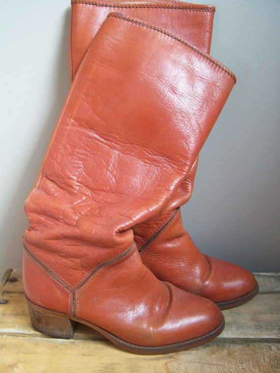 orange brown leather boots size 6 boots made in japan