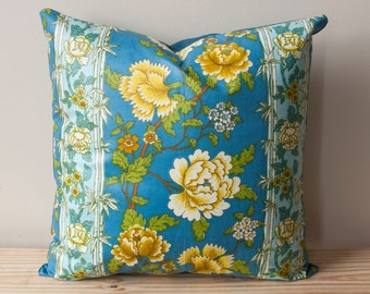 Hand Sewn Floral Chintz Pillow Made with Vintage Fabric