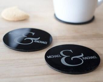 Personalised Ampersand Coaster Set - Gift for Couples - Housewarming Gift - Wedding Gift - Custom Coasters - Engraved Coasters