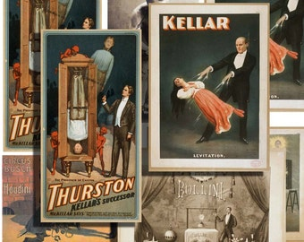 Victorian magician vintage magic show poster digital collage sheet printable for altered art and crafts