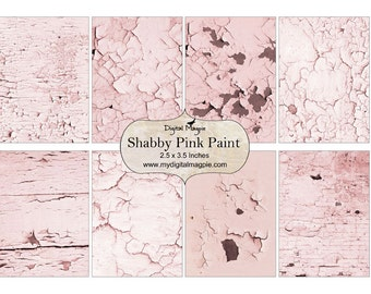 pink shabby 2.5 x 3.5 ATC background printable digital collage sheet flaky paint shabby chic textured instant download tag
