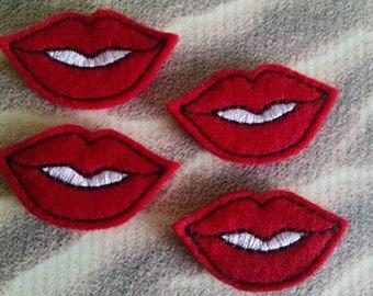 "Red Lips Felt Embellishment, set of 4, Felties,  1"" x 1.75"""