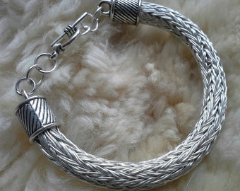 Woven Silver plated Viking knit bracelet handmade in Scotland