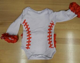 6-12 Month Baseball one piece suit crawler creeper with Ruffles, Baseball, Baby Baseball, Newborn Baseball, , Baby