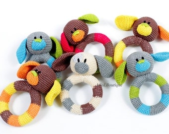 Crochet baby toy, Teething baby toy,  Grasping and Teething Toys  Dog, stuffed toys