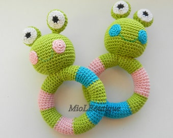 Crochet baby toy Grasping and Teething Toys Frog Stuffed toys Gift for baby Girls Boys