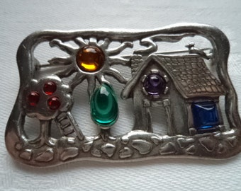 Vintage Signed JJ  Silvertone House/Garden with Coloured Stones Brooch/Pin