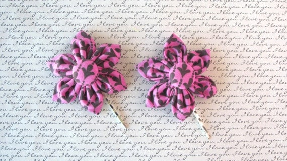 Pink and Black Kasia Hair Pins, Damask Hair Pins, Kasai Hair Pins, Adult Hair Pins, Damask Flower Hair Pins, Damask Bobby Pins