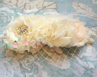 Flower girl headband, Ivory Cream Birdcage Feather headband,Burlap,Birdcage Veil,Rustic headband,Birdcage headband,Ivory headband,baby girls