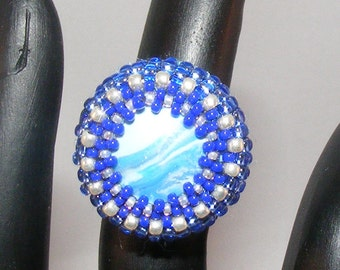 Ring - Size 4.5 to 5, Polymer Clay Blue Swirl Cabochon, Blue/Silver Seed Beads, Gold Tone Wire Wrapped