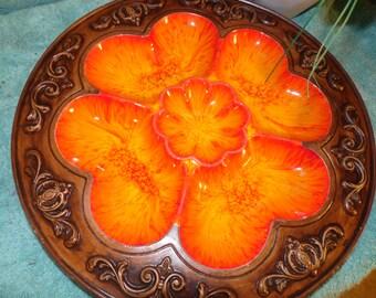 Vintage Treasure Craft Round Divide Platter Orange  Yellow Brown Clover  USA Organizer Ceramic