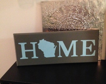 Wisconsin Home Wood Sign