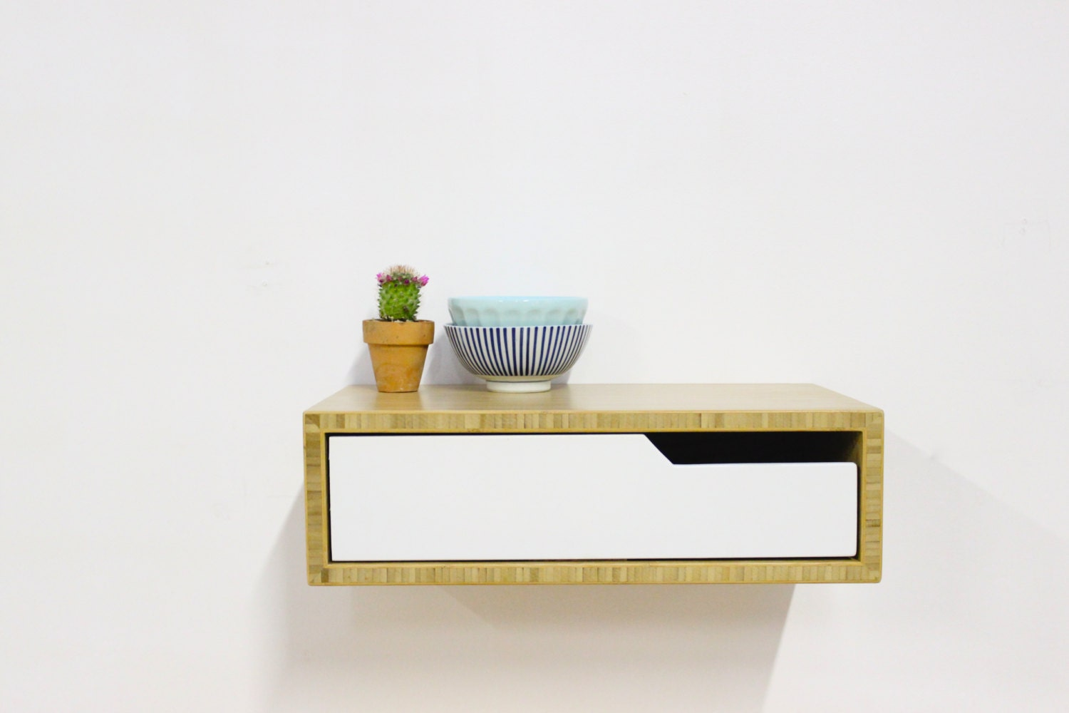 Floating nightstand in bamboo on sale spring cleaning of for Floating nightstand