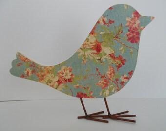 Cottage Roses Decoupaged Wood Bird