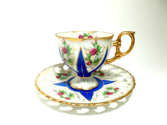 Teacup and Saucer, Lipper and Mann, Japan, Blue, Pink Florals, Gold Gilt Trim, Pedestal Teacup and Saucer