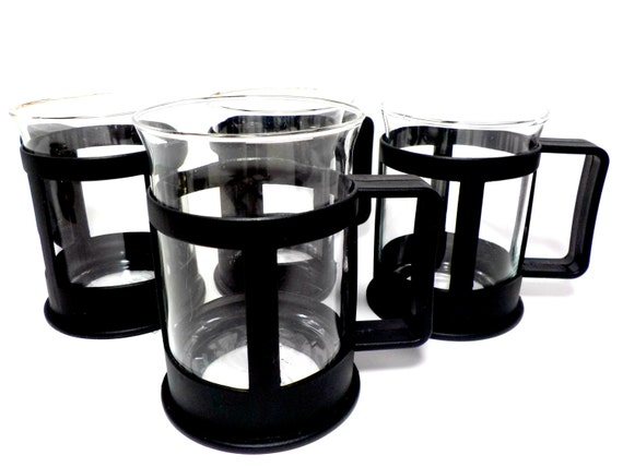Set of 4 Black Resin Cup Mugs with Glass Inserts, Black Modern Cup Holders, Mug Holders, Clear Glass Inserts, Coffee Lovers, Outdoor Cups