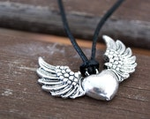 Silver Heart with Wings Necklace - Leather Cross Necklace - Black Leather Necklace - Angel Heart Necklace - Leather Choker - Unisex