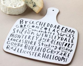 Käse-Brett - Schwarzweiß - Hand gelettert typografische Käseplatte - CB03