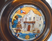 Texas Sesquicentennieal Stained Glass Pewter Plate With Box, US Historical Society