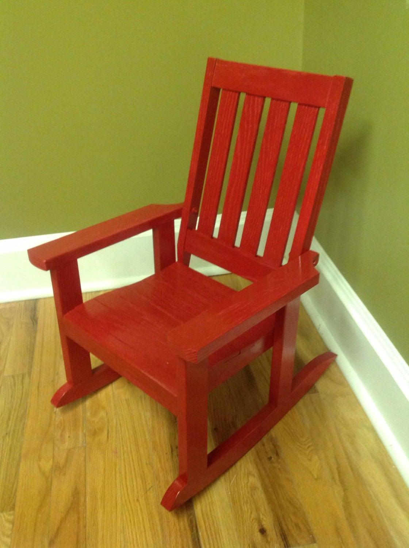 Child s oak rocking chair red