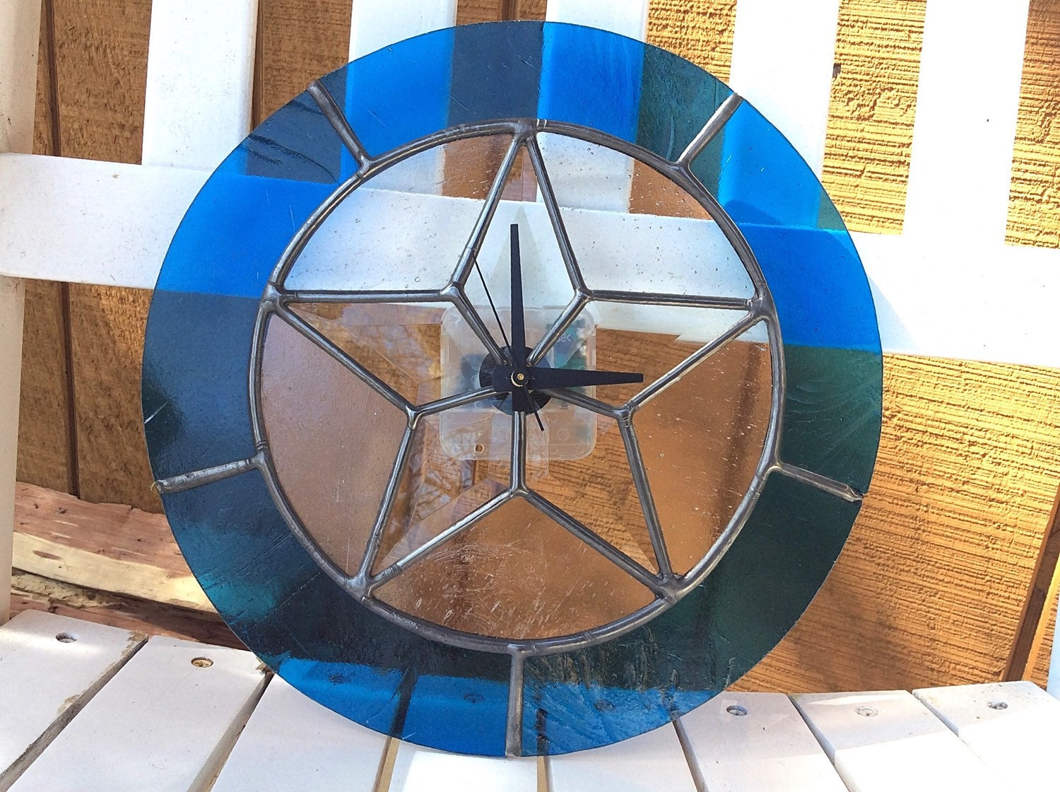 stained glass clock wall texas star blue