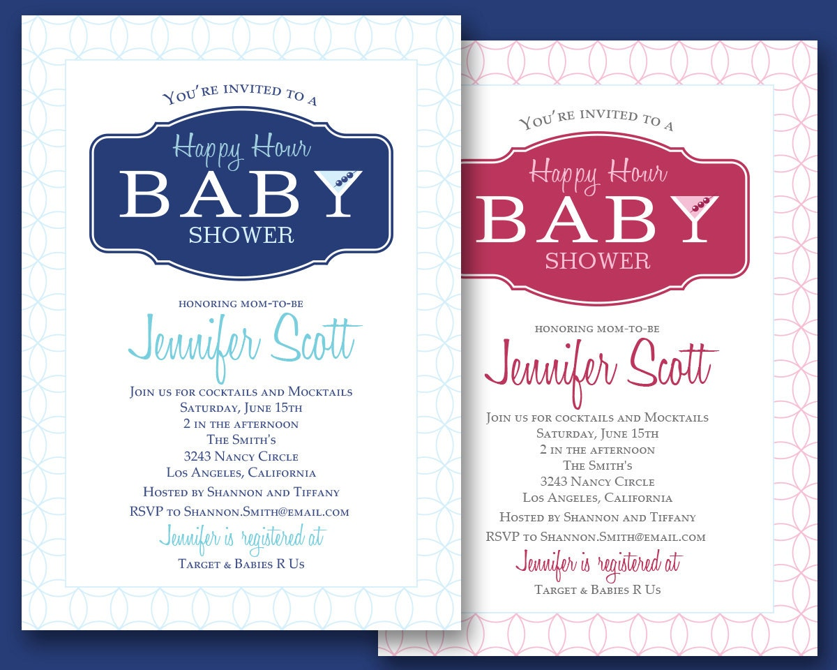 martini invitation happy hour cocktails mocktails baby shower invitation custom digital printable file pink blue 5 x7 martini olives