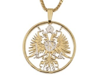 """Austrian Pendant and Necklace, Hapsburg double headed Eagle, 14 Karat Gold & Rhodium plated, 1"""" in diameter ( #9 )"""