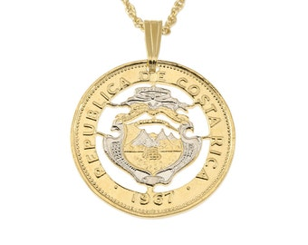 "Costa Rican Coin Pendant and Necklace, Costa Rican 25 Centavos Coin Hand Cut, 14 Karat Gold and Rhodium plated, 7/8"" in Diameter, ( # 544 )"