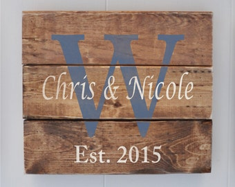 Plank Wood Sign, Personalized Name sign, Wedding Gift, Important Date Art, Last Name Sign, Bridal Shower Gift, Housewarming Gift, Denim