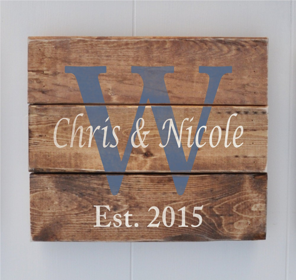 Plank Wood Sign Personalized Name sign Wedding Gift