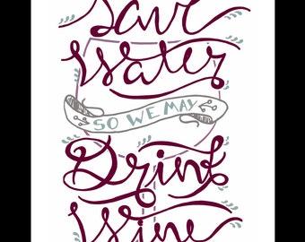 Printable Wine Art, Digital Download, Conservation Art, Fun Wine Gift, Wine Decor, Kitchen Art, Wine tasting Decor, Bar Art