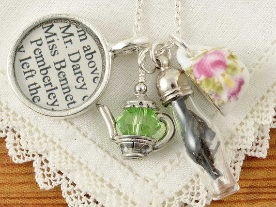 Jane Austen Tea Necklace - Pride and Prejudice - Literature Jewelry - Pride and Prejudice Necklace - Jane Austen Jewelry - Literary Jewelry