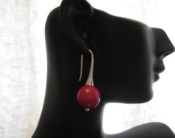 12mm  Natural Red Coral   Dangle Earrings ,Red Coral Earrings Silver Hooks,Gem Earrings