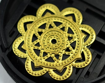 20 Pieces Raw Brass  28 mm Filigree Charms Connectors