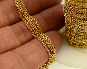 33 Feet -10 Meters 1,5x2 mm Raw Brass Soldering Tiny Chain