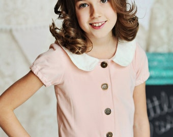 Sale...Buy 2 Get 1 Free Instant Download PDF Sewing Pattern Adeline Knit Cardigan Top or Dress with Peter Pan Collar 3-6M to 10