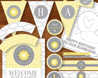 INSTANT DOWNLOAD - Not Personalized - You Are My Sunshine Party Printables - First Birthday - 1st One Chevron Yellow Gray