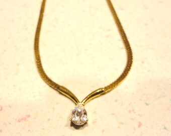 Pear Shaped Cubic Zirconia Gold Plated Neckace 16 Inch