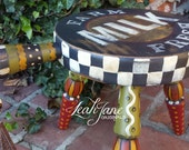 Hand Painted Whimsical Farmhouse Milk Wood Stool  ***FREE SHIPPING***