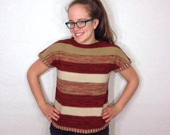Fully Fashioned Short Sleeve Striped Autumn Fall Color Tan Maroon Knit Warm Boho Sweater Sweatshirt Shirt Medium M 1960s 60s 1970s 70s