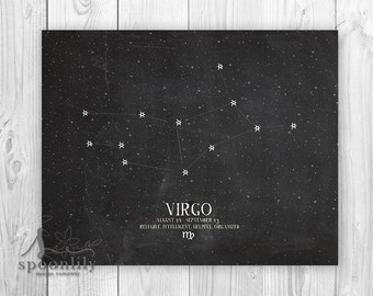 VIRGO, Zodiac Constellation Print, Chalkboard Art, Astrology Print - Home Decor Wall 8x10 ART PRINT