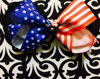 American Flag USA Patriotic Minnie Mouse inspired Headband Ears