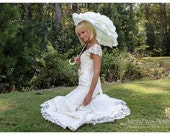 READY TO SHIP Wedding Parasol Bridal Umbrella for Kids with Multi Layers of Gorgeous Fabric in Ivory 1pc
