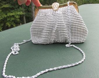 Vintage Beaded Shoulder Strap Purse - Summer Purse - White Beaded Purse - White Wedding Purse - Formal Purse - Beaded Handbag